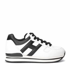 Hogan Sneaker H222 Model In White Leather With H And Black Leather Heel