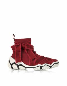 Red Valentino Dark Red High-top Glam Run Sneakers