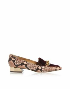 Tory Burch Blush And Black Cherry Jessa 25mm Loafers