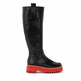 Paloma Barcelò Boot In Red Leather With Ultralight Red Rubber Sole
