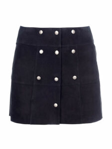 Saint Laurent Button Suede Leather Skirt