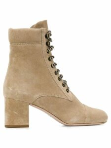 Miu Miu suede hiking ankle boots - NEUTRALS