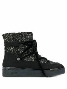 LIU JO metallic threading lace-up ankle boots - Black