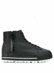 Tommy Jeans high-top logo zip sneakers - Black