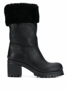 Miu Miu fur trimmed boots - Black