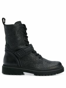 Moncler shiny cracked-effect boots - Black