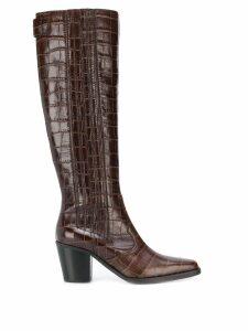 Ganni Mock Croc Western Boots - Brown