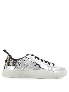 Diesel lace-up metallic sneakers - SILVER