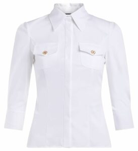 Elisabetta Franchi Shirt In White Stretch Cotton