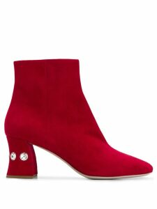 Miu Miu crystal embellished boots - Red
