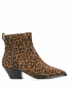 Ash leopard print ankle boots - Brown
