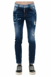 Dsquared2 Dark Blue Faded Cotton Teared Jeans