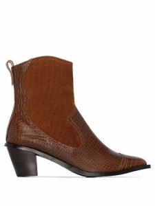 Reike Nen snake effect 60mm western boots - Brown