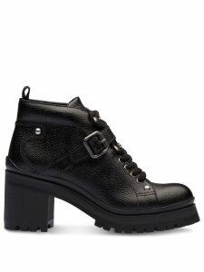 Miu Miu lace-up platform booties - Black
