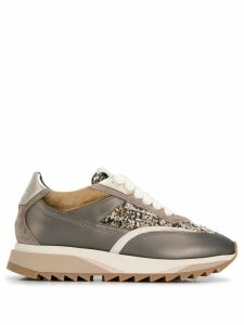 Santoni bouclé tweed inlay sneakers - Brown