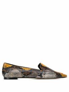 Aeyde Aurora snake print loafers - Neutrals