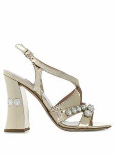 Miu Miu crystal-embellished sandals - Gold