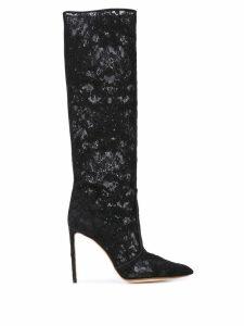 Francesco Russo lace knee-high boots - Black