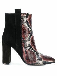 Via Roma 15 snakeskin-effect panelled boots - Black