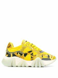 Versace Squalo baroque print sneakers - Yellow