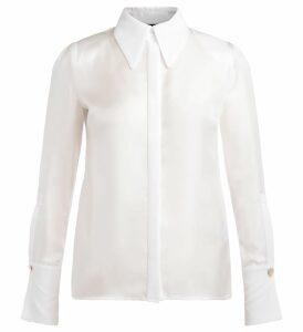Long Sleeve Elisabetta Franchi Ivory Shirt With Jewel Button