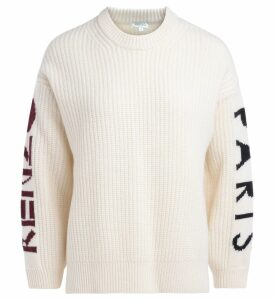 Kenzo Chunky Sweater In Ecrù Wool. Logo Along The Sleeves