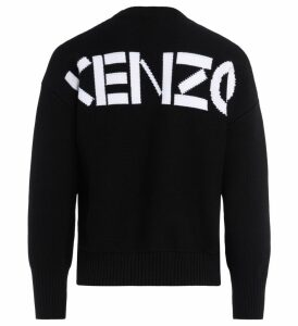 Kenzo Shirt In Black Cotton With White Logo On The Back