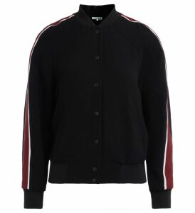 Kenzo Black Bomber Jacket With Multicolor Tiger Embroidery On The Back