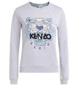 Kenzo Tigre Gray Sweatshirt With Multicolored Front Embroidery