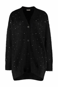 Miu Miu Blend Wool Cardigan With Nacre Buttons