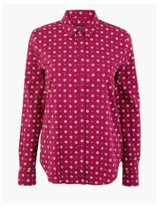 M&S Collection Cotton Rich Floral Print Slim Fit Shirt
