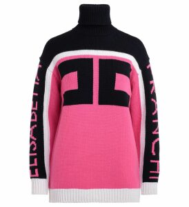 Elisabetta Franchi Sweater In Blue And Fuchsia Wool With Logoed Sleeves