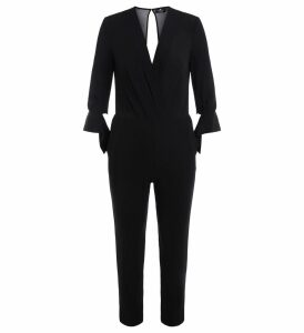 Elisabetta Franchi Suit In Black Fabric With V-neck