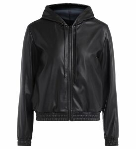 Michael Kors Sweatshirt In Black Vegan Leather With Adjustable Hood