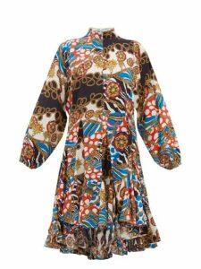 Rhode - Adeline Godet Hem Printed Cotton Dress - Womens - Cream Multi