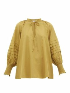 Rhode - Sage Balloon-sleeve Cotton Blouse - Womens - Khaki