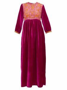 Muzungu Sisters - Touba Floral-embroidered Silk-blend Dress - Womens - Pink Multi