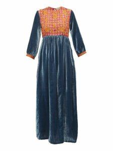 Muzungu Sisters - Touba Floral-embroidered Silk-blend Dress - Womens - Blue Multi
