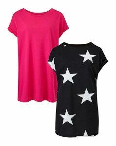Pink/Star Pack of 2 Boyfriend Tshirts