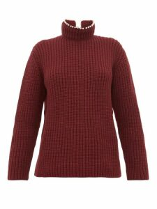 Loewe - Faux Pearl-neck Ribbed Cashmere Sweater - Womens - Burgundy