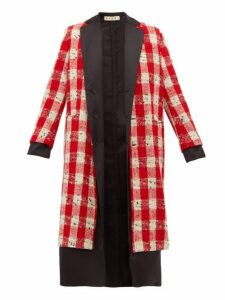 Marni - Checked Wool-blend Bouclé Coat - Womens - Red White