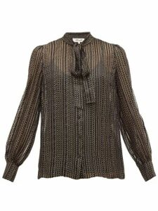 Diane Von Furstenberg - Lanie Metallic Silk Blend-georgette Blouse - Womens - Black Gold