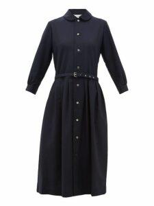 Comme Des Garçons Girl - Belted Wool Shirtdress - Womens - Navy