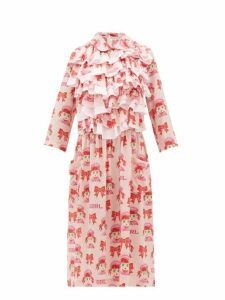 Comme Des Garçons Girl - Ruffled Cartoon Print Crepe Midi Dress - Womens - Pink