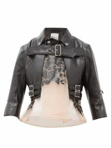 Noir Kei Ninomiya - Organza Panel Cropped Faux Leather Jacket - Womens - Black Multi