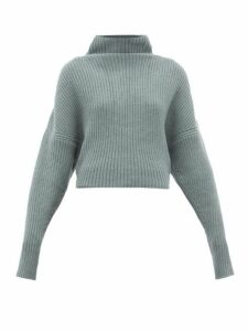 Petar Petrov - Kate Funnel-neck Ribbed Cashmere Sweater - Womens - Blue