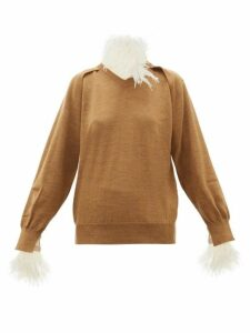 Toga - Feather-trimmed Wool-blend Sweater - Womens - Beige