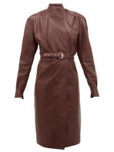 Dodo Bar Or - Tony Belted Leather Wrap Dress - Womens - Burgundy