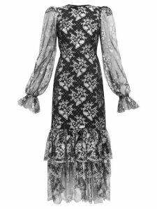 The Vampire's Wife - The Lace Night Bird Layered Skirt Silk Dress - Womens - Black Silver