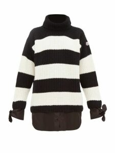 Moncler - Layered-effect Roll-neck Virgin-wool Sweater - Womens - Black White